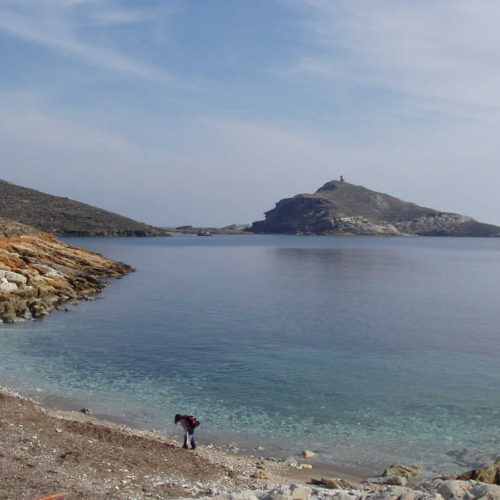 the lighthouse in Planitis island in Panormos bay, Tinos