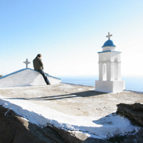 white-washed curch in Tinos, Greece