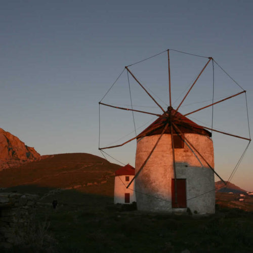 old stone wind mills in Tinos island