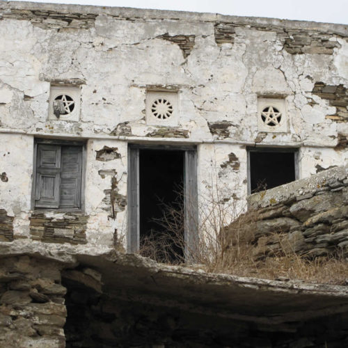 old traditional house in Tinos with details in marble